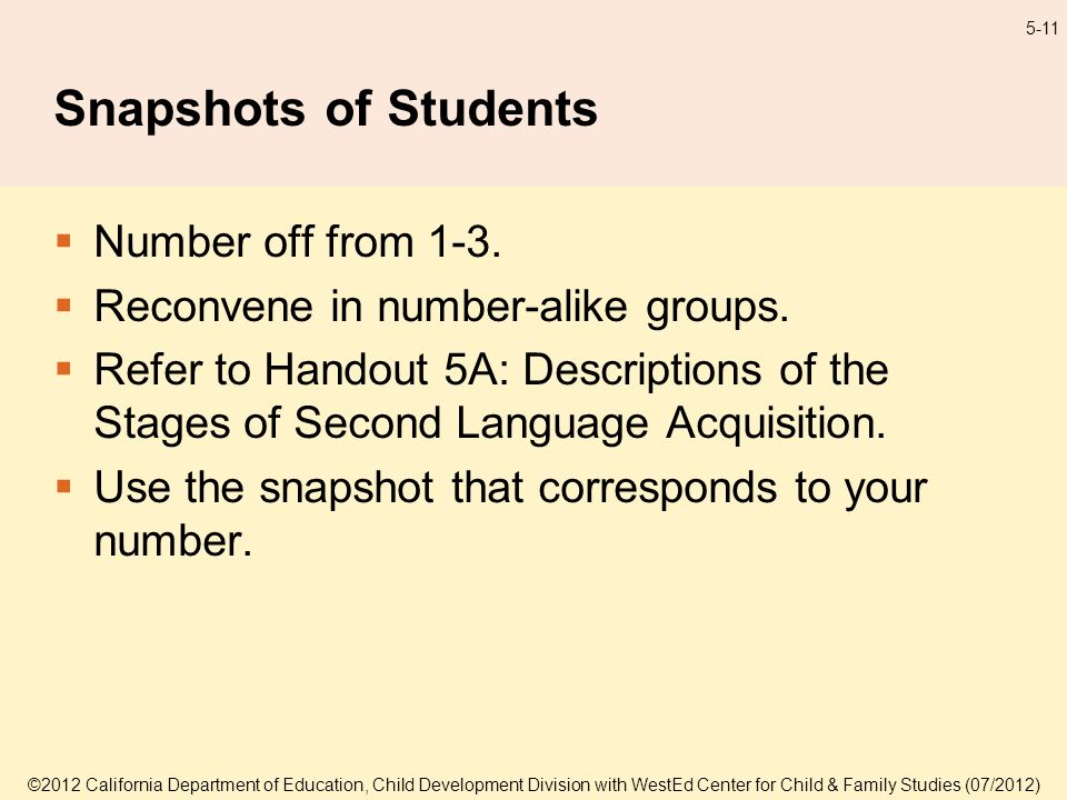 5-11 Snapshots of Students Number off from 1-3. Reconvene in number-alike groups.