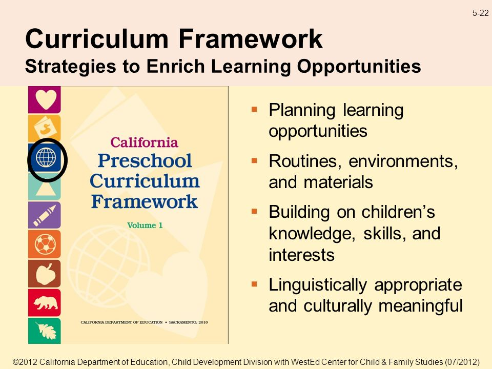 5-22 Curriculum Framework Strategies to Enrich Learning Opportunities Planning learning opportunities Routines, environments, and materials Building on childrens knowledge, skills, and interests Linguistically appropriate and culturally meaningful