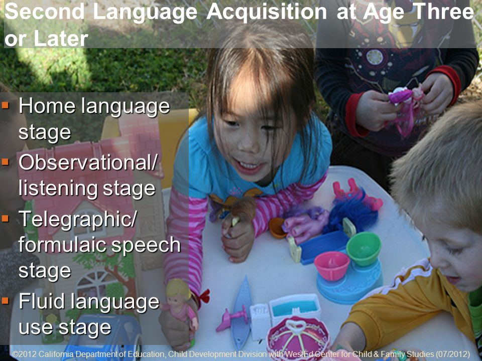 ©2012 California Department of Education, Child Development Division with WestEd Center for Child & Family Studies (07/2012) 5-6 Second Language Acquisition at Age Three or Later Home language stage Home language stage Observational/ listening stage Observational/ listening stage Telegraphic/ formulaic speech stage Telegraphic/ formulaic speech stage Fluid language use stage Fluid language use stage ©2012 California Department of Education, Child Development Division with WestEd Center for Child & Family Studies (07/2012)