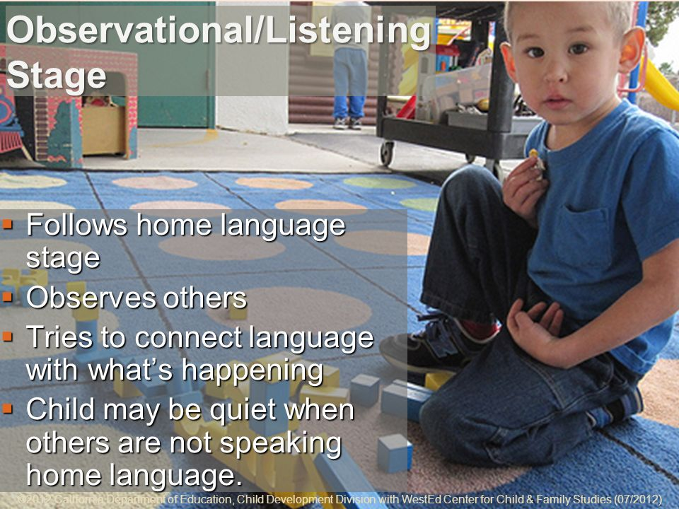 5-8 Observational/Listening Stage Follows home language stage Follows home language stage Observes others Observes others Tries to connect language with whats happening Tries to connect language with whats happening Child may be quiet when others are not speaking home language.