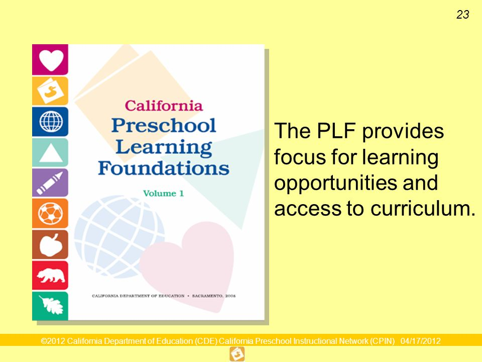 23 The PLF provides focus for learning opportunities and access to curriculum.