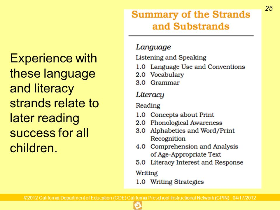 ©2012 California Department of Education (CDE) California Preschool Instructional Network (CPIN) 04/17/2012 25 Experience with these language and literacy strands relate to later reading success for all children.