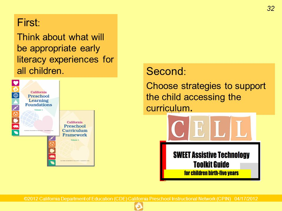 32 Utilizing Resources Effectively First : Think about what will be appropriate early literacy experiences for all children.