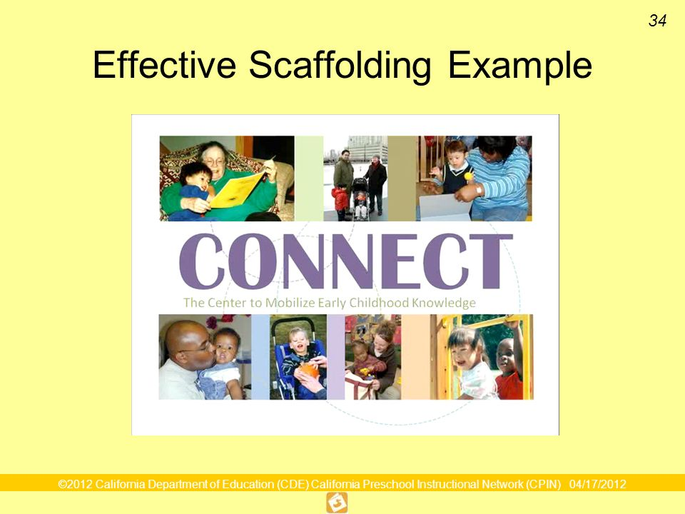 ©2012 California Department of Education (CDE) California Preschool Instructional Network (CPIN) 04/17/2012 34 Effective Scaffolding Example