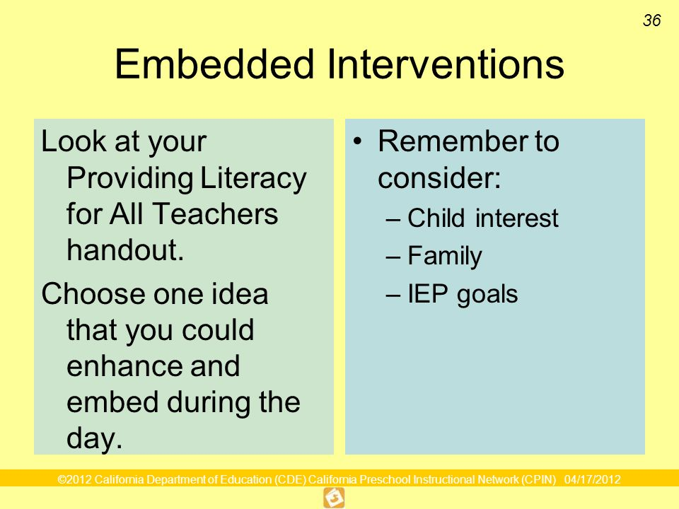 36 Embedded Interventions Look at your Providing Literacy for All Teachers handout.