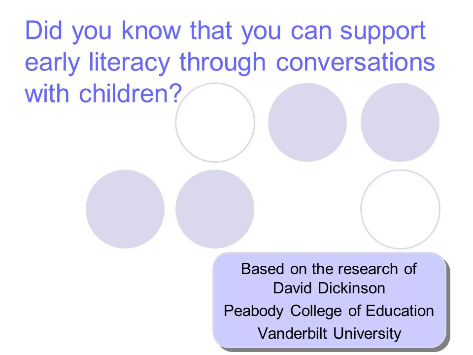 Did you know that you can support early literacy through conversations with children.