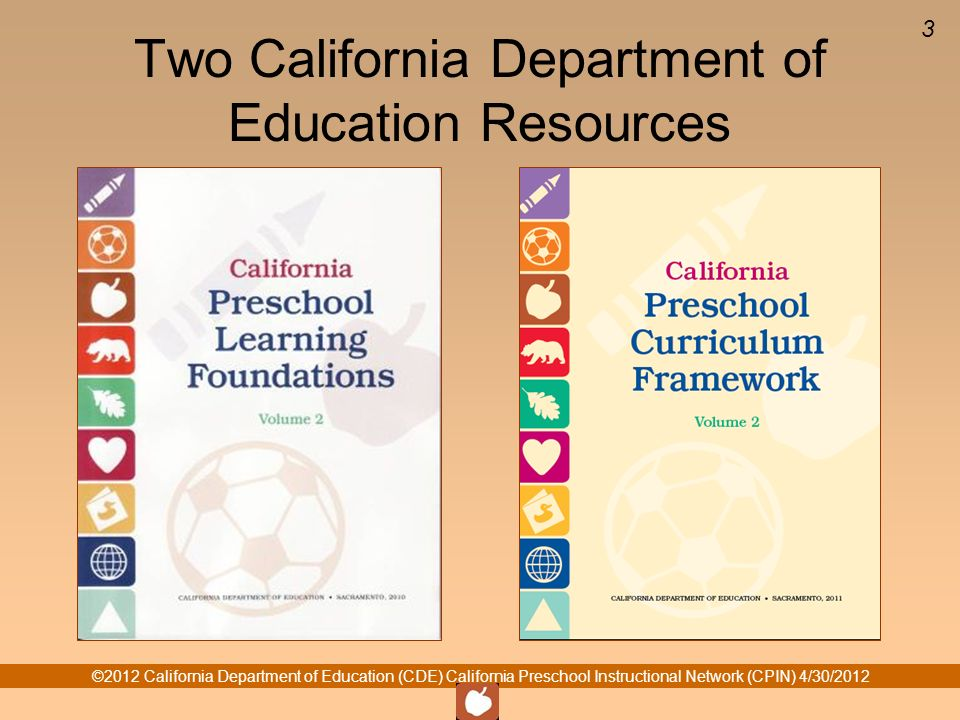 ©2012 California Department of Education (CDE) California Preschool Instructional Network (CPIN) 4/30/ Two California Department of Education Resources
