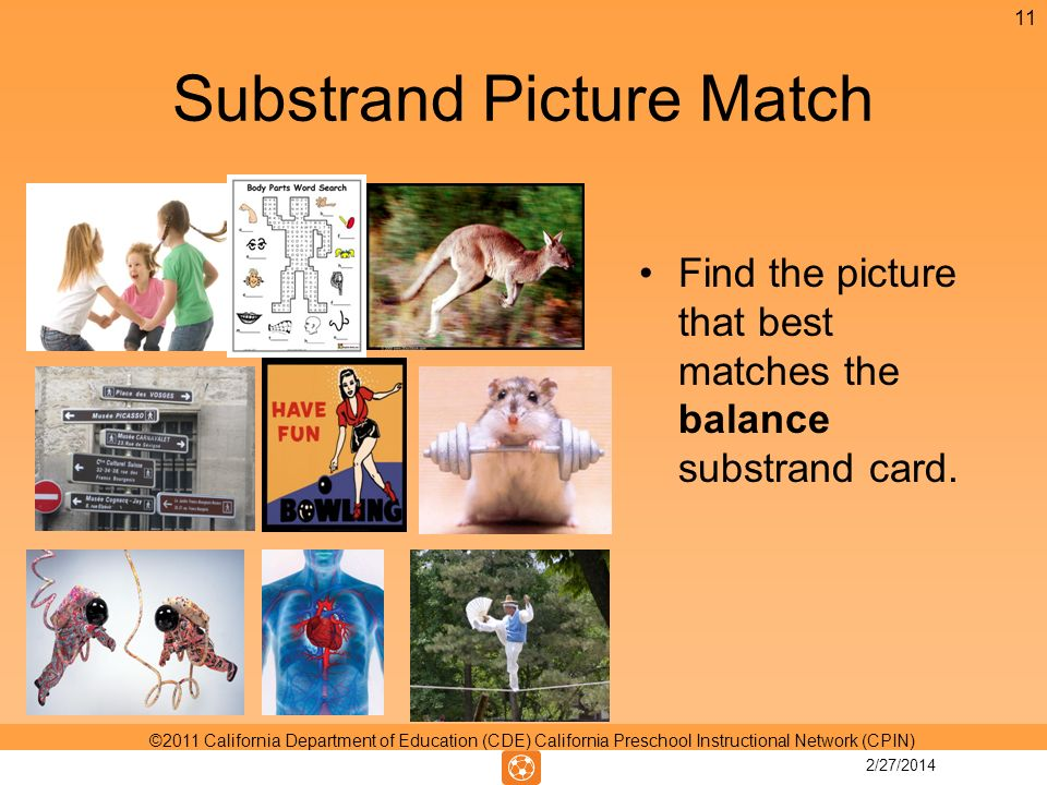 Substrand Picture Match Find the picture that best matches the balance substrand card.