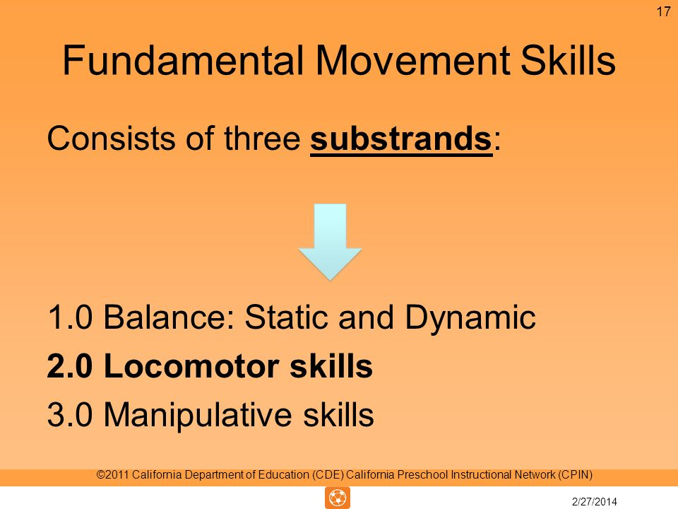 Fundamental Movement Skills Consists of three substrands: 1.0 Balance: Static and Dynamic 2.0 Locomotor skills 3.0 Manipulative skills 17 ©2011 California Department of Education (CDE) California Preschool Instructional Network (CPIN) 2/27/2014