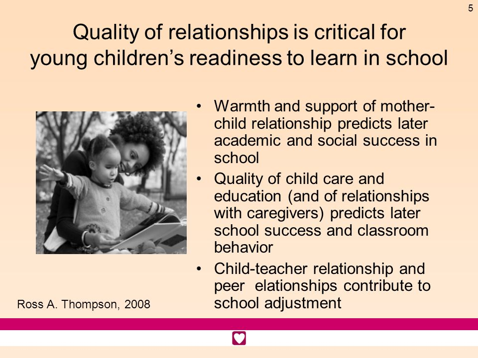5 Quality of relationships is critical for young childrens readiness to learn in school Warmth and support of mother- child relationship predicts later academic and social success in school Quality of child care and education (and of relationships with caregivers) predicts later school success and classroom behavior Child-teacher relationship and peer elationships contribute to school adjustment Ross A.