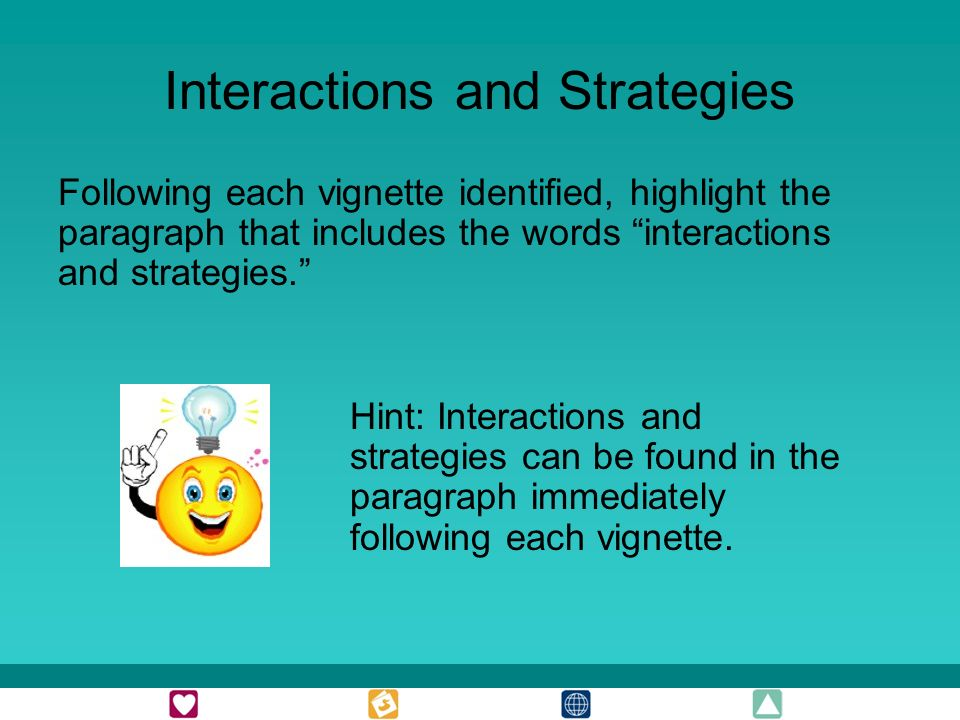 Interactions and Strategies Following each vignette identified, highlight the paragraph that includes the words interactions and strategies.