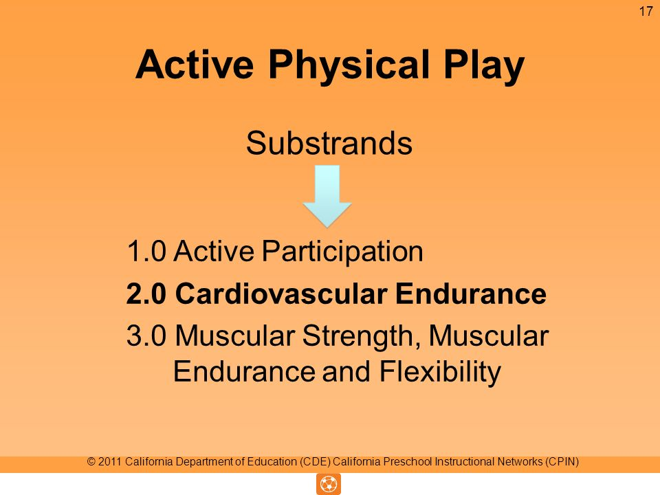 Active Physical Play 1.0 Active Participation 2.0 Cardiovascular Endurance 3.0 Muscular Strength, Muscular Endurance and Flexibility Substrands 17 © 2011 California Department of Education (CDE) California Preschool Instructional Networks (CPIN)