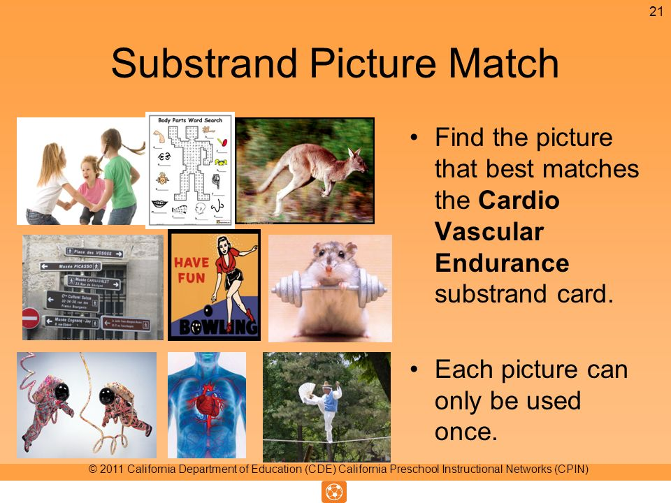 Substrand Picture Match Find the picture that best matches the Cardio Vascular Endurance substrand card.