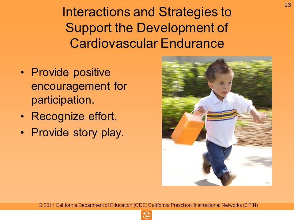 Interactions and Strategies to Support the Development of Cardiovascular Endurance Provide positive encouragement for participation.