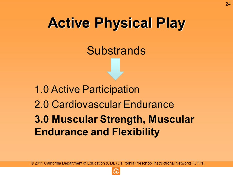 Active Physical Play Substrands 24 © 2011 California Department of Education (CDE) California Preschool Instructional Networks (CPIN) 1.0 Active Participation 2.0 Cardiovascular Endurance 3.0 Muscular Strength, Muscular Endurance and Flexibility