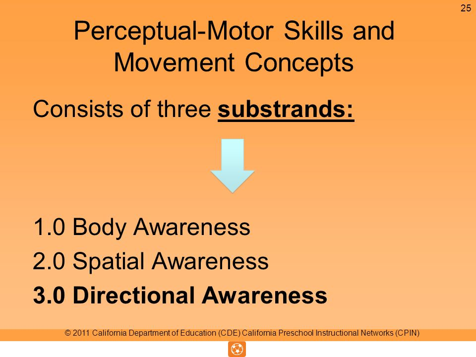 Perceptual-Motor Skills and Movement Concepts Consists of three substrands: 1.0 Body Awareness 2.0 Spatial Awareness 3.0 Directional Awareness 25 © 2011 California Department of Education (CDE) California Preschool Instructional Networks (CPIN)
