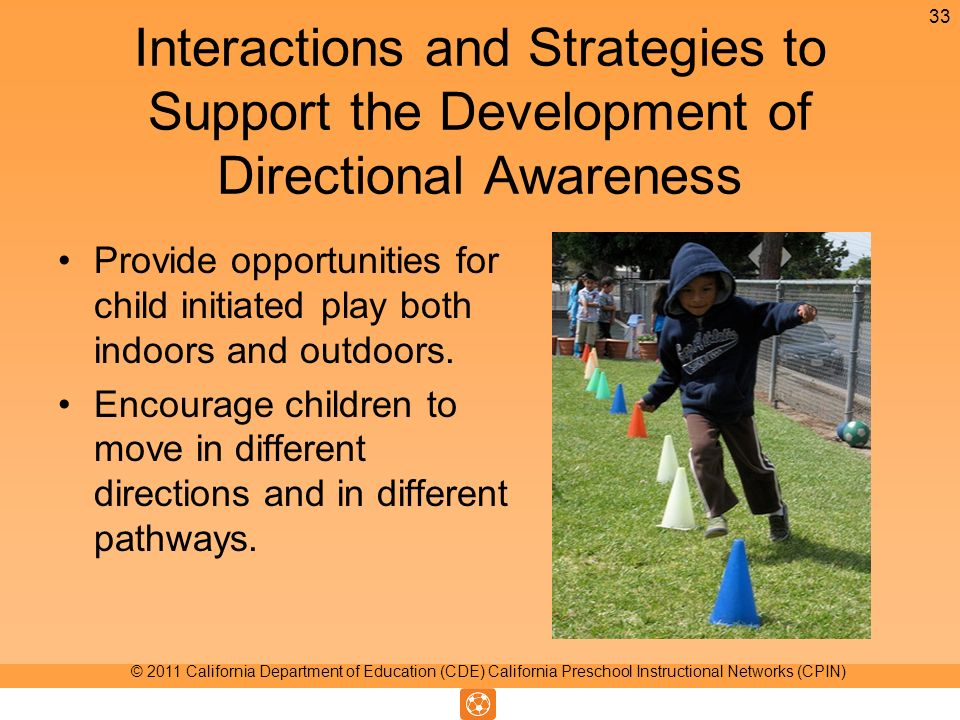 Interactions and Strategies to Support the Development of Directional Awareness Provide opportunities for child initiated play both indoors and outdoors.