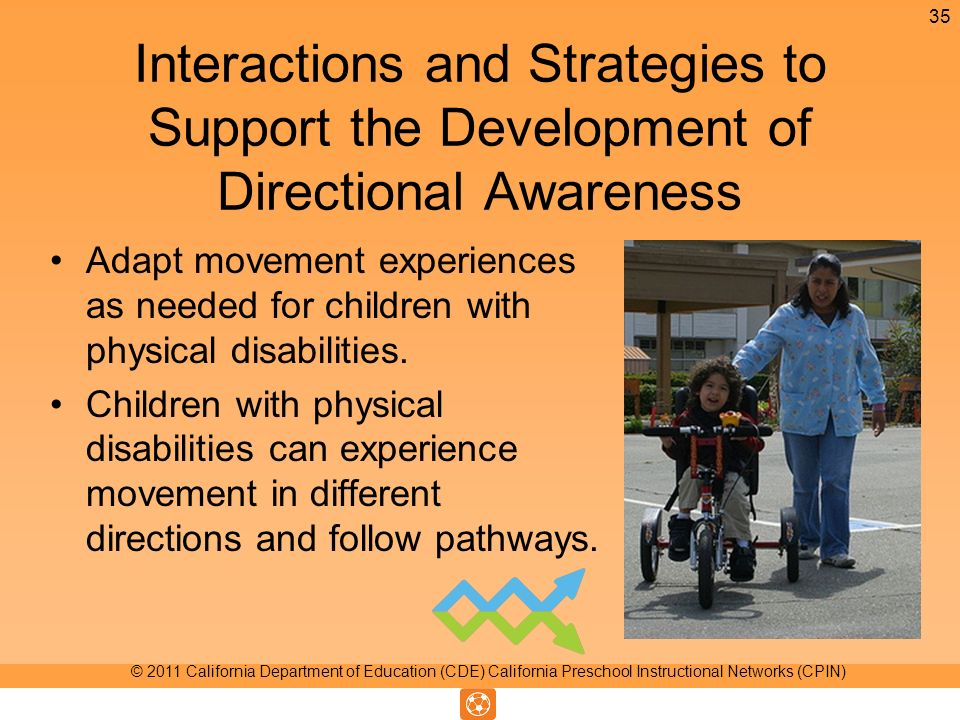 Interactions and Strategies to Support the Development of Directional Awareness Adapt movement experiences as needed for children with physical disabilities.