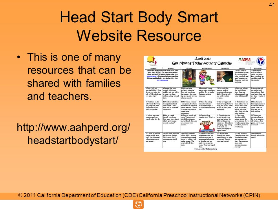 Head Start Body Smart Website Resource This is one of many resources that can be shared with families and teachers.