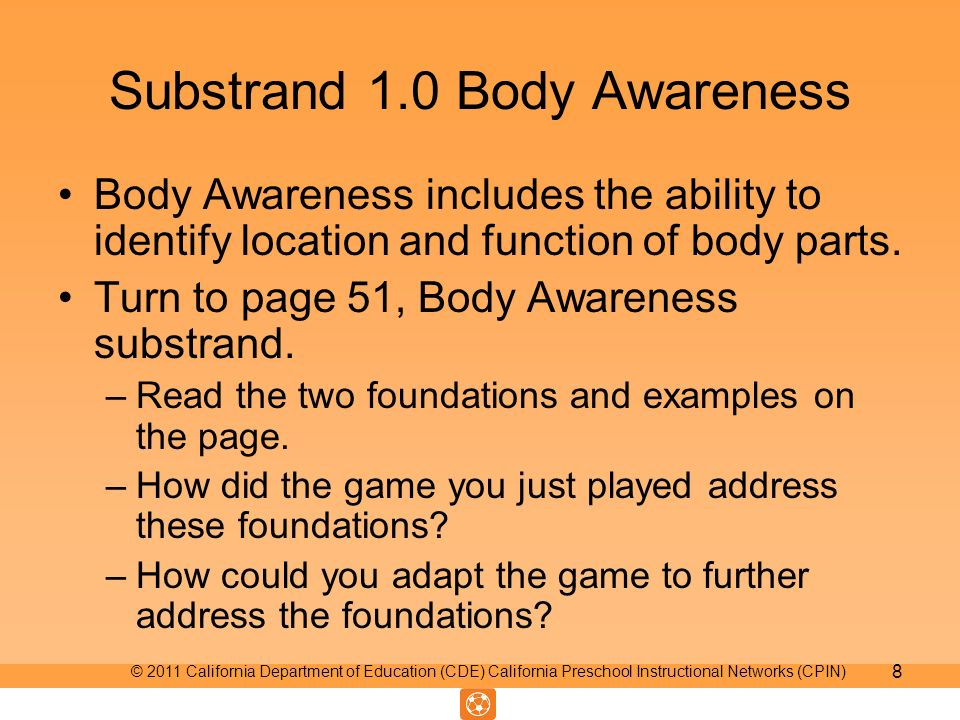 Substrand 1.0 Body Awareness Body Awareness includes the ability to identify location and function of body parts.