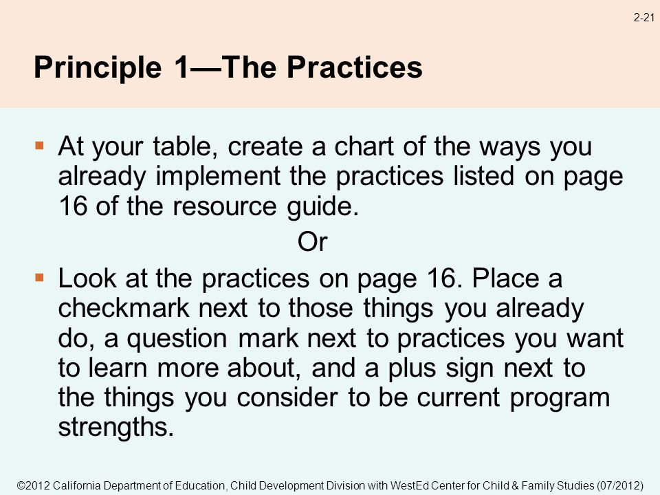 2-21 Principle 1The Practices At your table, create a chart of the ways you already implement the practices listed on page 16 of the resource guide.