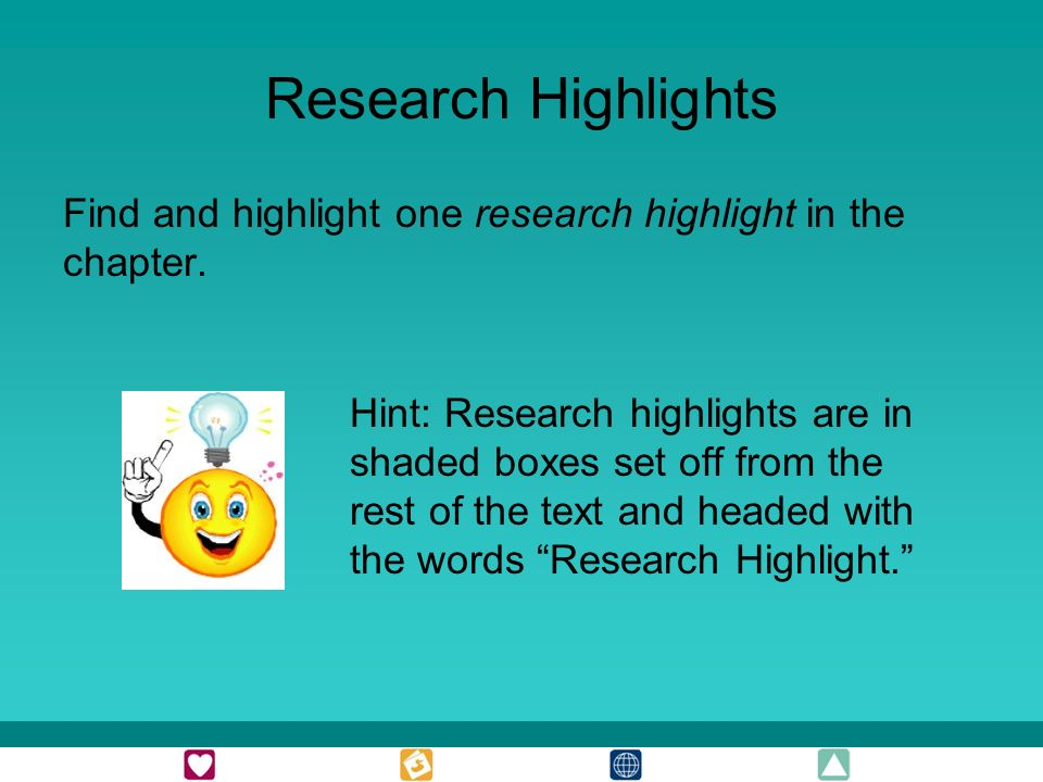 Research Highlights Find and highlight one research highlight in the chapter.