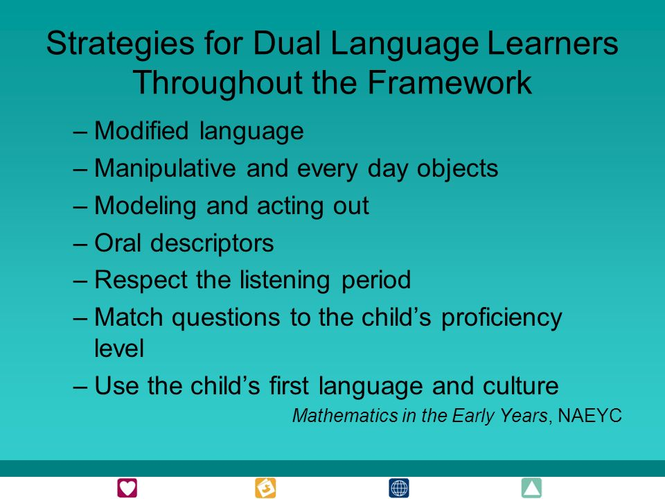 Strategies for Dual Language Learners Throughout the Framework –Modified language –Manipulative and every day objects –Modeling and acting out –Oral descriptors –Respect the listening period –Match questions to the childs proficiency level –Use the childs first language and culture Mathematics in the Early Years, NAEYC