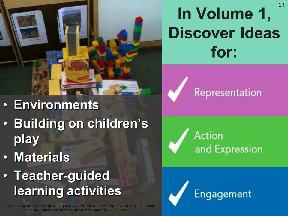 In Volume 1, Discover Ideas for: EnvironmentsEnvironments Building on childrens playBuilding on childrens play MaterialsMaterials Teacher-guided learning activitiesTeacher-guided learning activities ©2013 California Department of Education (CDE) with the WestEd Center for Child & Family Studies, California Preschool Instructional Network (CPIN).