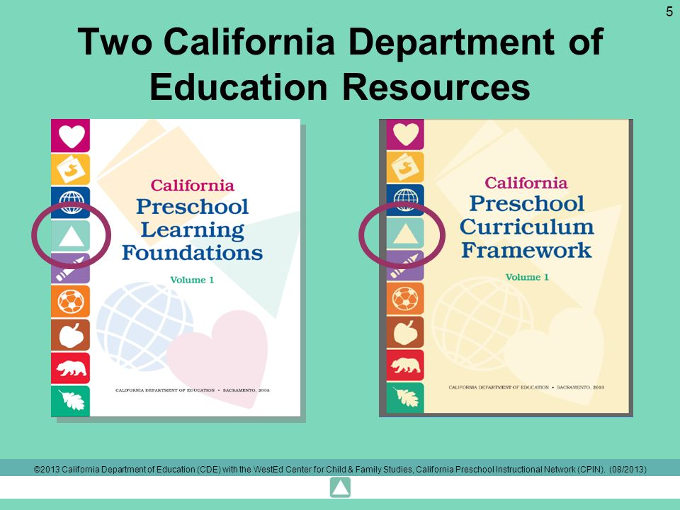 Two California Department of Education Resources ©2013 California Department of Education (CDE) with the WestEd Center for Child & Family Studies, California Preschool Instructional Network (CPIN).