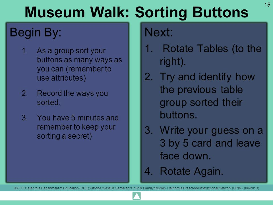 Museum Walk: Sorting Buttons Begin By: 1.As a group sort your buttons as many ways as you can (remember to use attributes) 2.Record the ways you sorted.