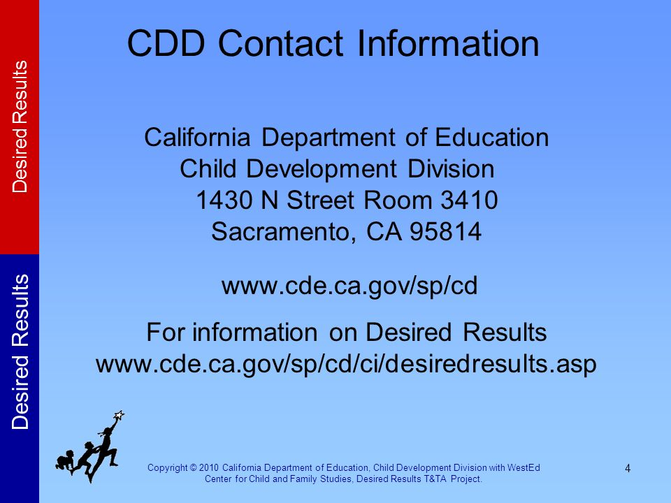 Copyright © 2010 California Department of Education, Child Development Division with WestEd Center for Child and Family Studies, Desired Results T&TA Project.