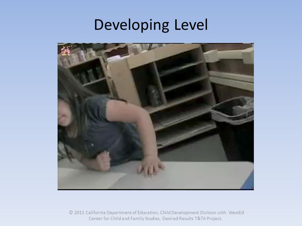 Developing Level © 2011 California Department of Education, Child Development Division with WestEd Center for Child and Family Studies, Desired Results T&TA Project.