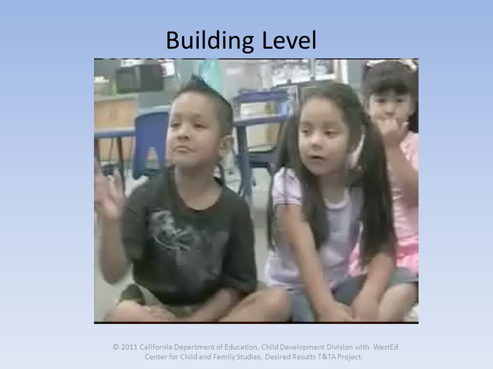 Building Level © 2011 California Department of Education, Child Development Division with WestEd Center for Child and Family Studies, Desired Results T&TA Project.