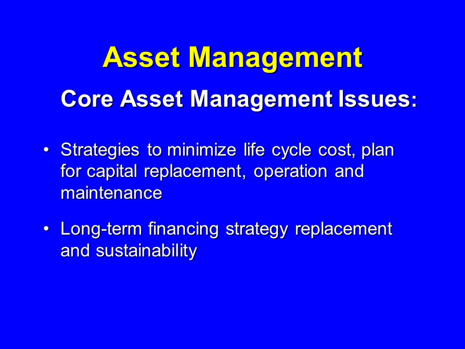 Asset Management Core Asset Management Issues : Strategies to minimize life cycle cost, plan for capital replacement, operation and maintenanceStrategies to minimize life cycle cost, plan for capital replacement, operation and maintenance Long-term financing strategy replacement and sustainabilityLong-term financing strategy replacement and sustainability