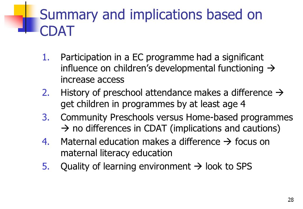 28 Summary and implications based on CDAT 1.Participation in a EC programme had a significant influence on childrens developmental functioning increase access 2.History of preschool attendance makes a difference get children in programmes by at least age 4 3.Community Preschools versus Home-based programmes no differences in CDAT (implications and cautions) 4.Maternal education makes a difference focus on maternal literacy education 5.Quality of learning environment look to SPS