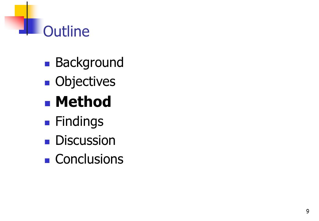 9 Background Objectives Method Findings Discussion Conclusions Outline
