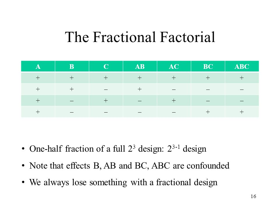 The Fractional Factorial ABCABACBCABC +++++++ ++ + + + + + ++ 16 One-half fraction of a full 2 3 design: 2 3-1 design Note that effects B, AB and BC, ABC are confounded We always lose something with a fractional design