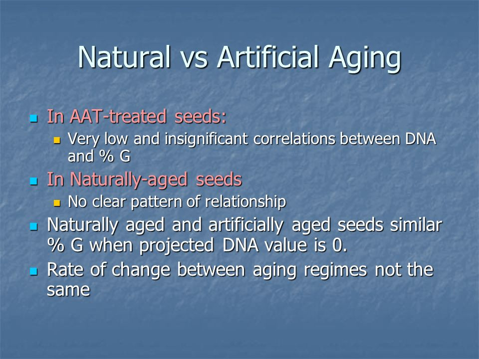 Natural vs Artificial Aging In AAT-treated seeds: In AAT-treated seeds: Very low and insignificant correlations between DNA and % G Very low and insignificant correlations between DNA and % G In Naturally-aged seeds In Naturally-aged seeds No clear pattern of relationship No clear pattern of relationship Naturally aged and artificially aged seeds similar % G when projected DNA value is 0.