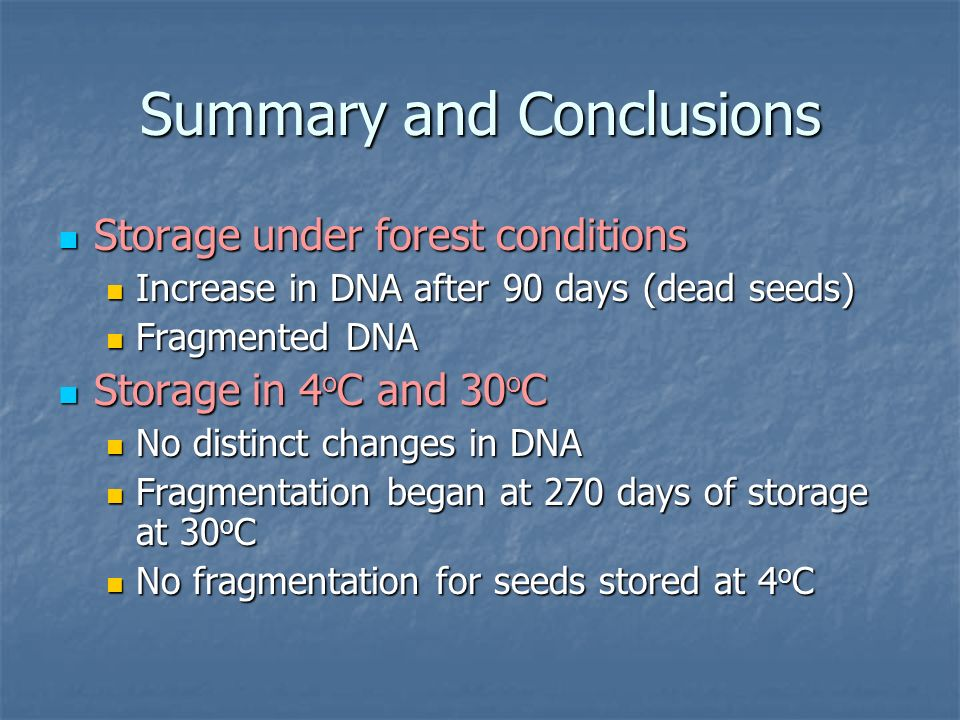 Summary and Conclusions Storage under forest conditions Increase in DNA after 90 days (dead seeds) Fragmented DNA Storage in 4oC and 30oC No distinct changes in DNA Fragmentation began at 270 days of storage at 30oC No fragmentation for seeds stored at 4oC