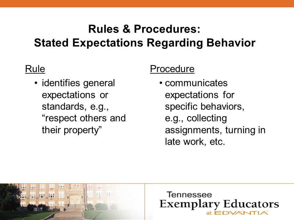 Rules & Procedures: Stated Expectations Regarding Behavior Rule identifies general expectations or standards, e.g., respect others and their property Procedure communicates expectations for specific behaviors, e.g., collecting assignments, turning in late work, etc.