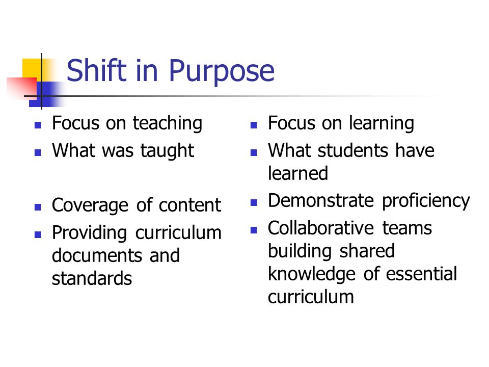 Shift in Purpose Focus on teaching What was taught Coverage of content Providing curriculum documents and standards Focus on learning What students have learned Demonstrate proficiency Collaborative teams building shared knowledge of essential curriculum