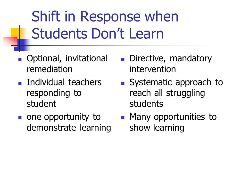 Shift in Response when Students Dont Learn Optional, invitational remediation Individual teachers responding to student one opportunity to demonstrate learning Directive, mandatory intervention Systematic approach to reach all struggling students Many opportunities to show learning