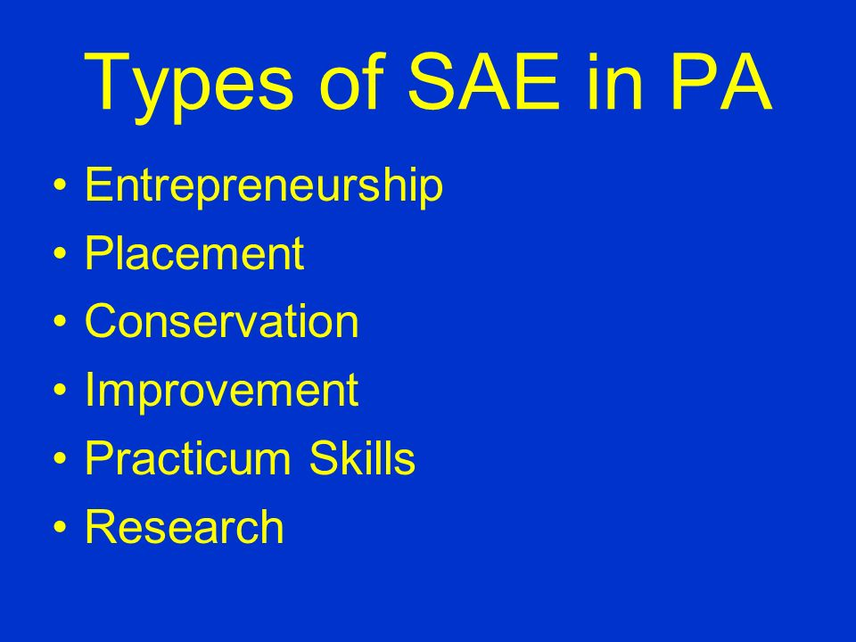 How Does a SAE Help Me.... FFA degrees are partially based on the SAE.