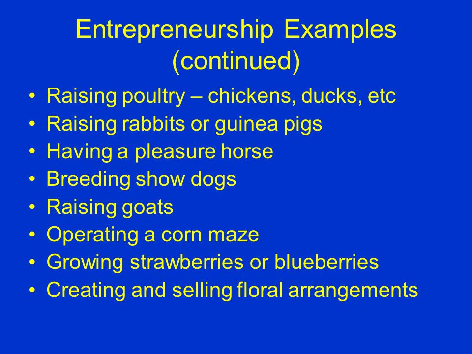 Entrepreneurship examples: Growing a garden or a crop Operating a Christmas tree farm Raising pigs, sheep or cattle Running a pay-to-fish operation Raising vegetables or flowers to sell Owning and operating a lawn care service A group of students growing a crop of poinsettias
