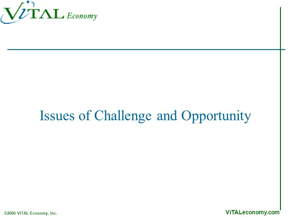 ViTALeconomy.com ©2006 ViTAL Economy, Inc. Issues of Challenge and Opportunity