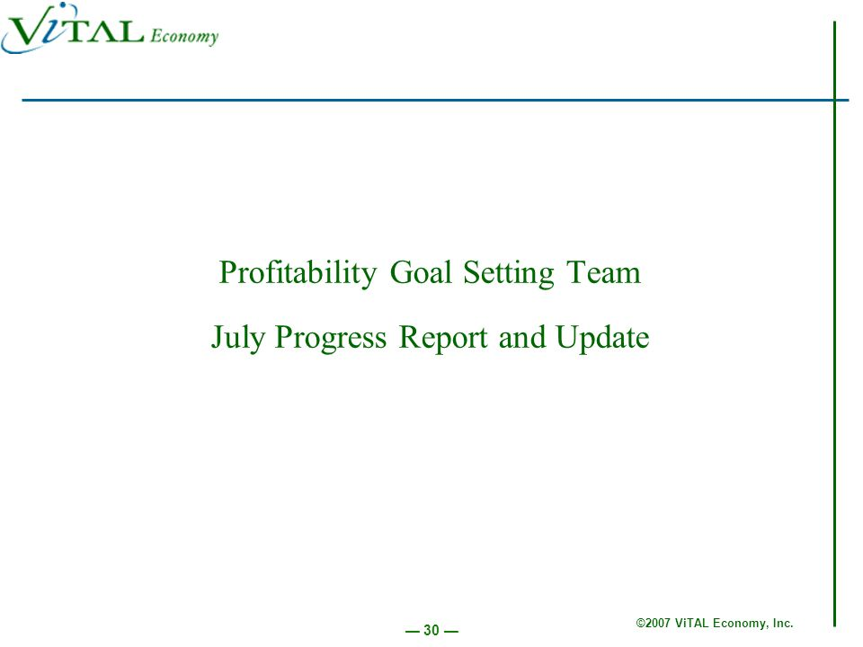 ©2007 ViTAL Economy, Inc. 30 Profitability Goal Setting Team July Progress Report and Update