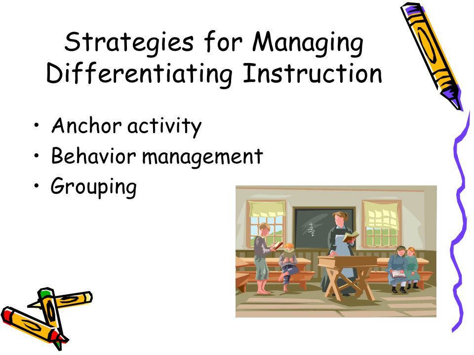 Strategies for Managing Differentiating Instruction Anchor activity Behavior management Grouping