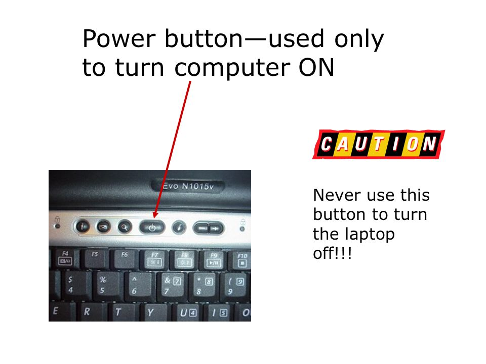 Power buttonused only to turn computer ON Never use this button to turn the laptop off!!!