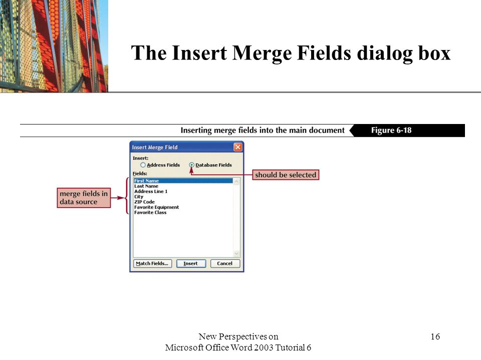 XP New Perspectives on Microsoft Office Word 2003 Tutorial 6 16 The Insert Merge Fields dialog box
