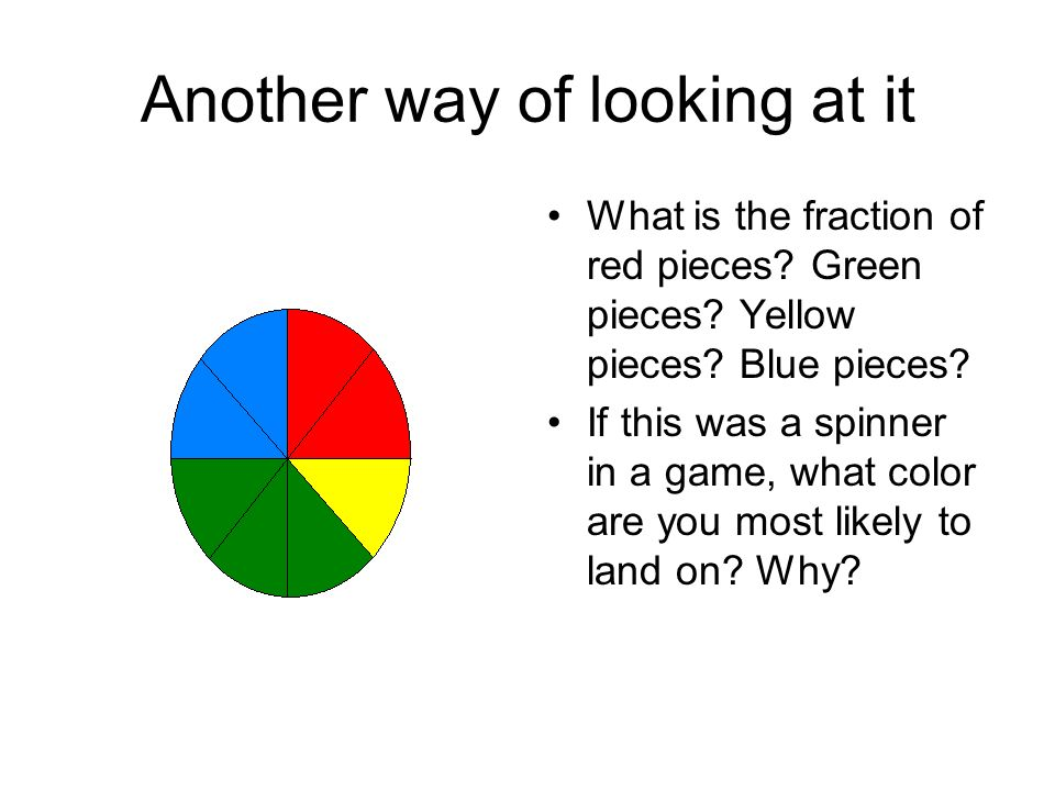 Another way of looking at it What is the fraction of red pieces.